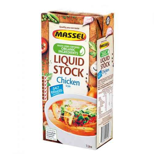 Massel Liquid Organic Stock – Chicken Style Salt Reduced 1Litre