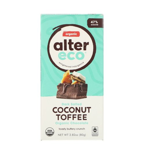 Alter Eco Organic Chocolate – Dark Salted Coconut Toffee